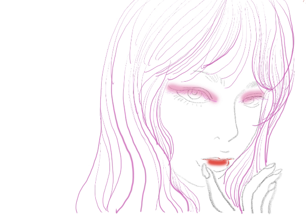 ピンクのラインの女性の顔のイラスト