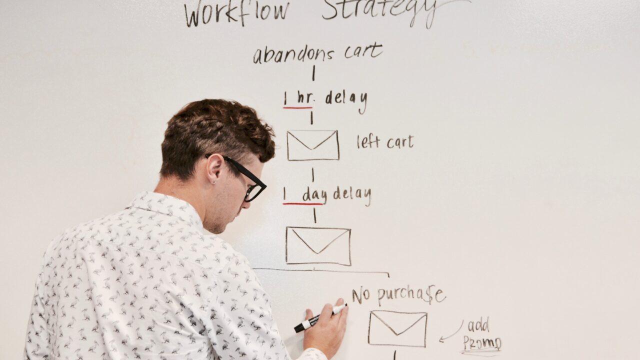 仕事のマネジメントの戦略をホワイトボートに書いている眼鏡をかけた白人男性